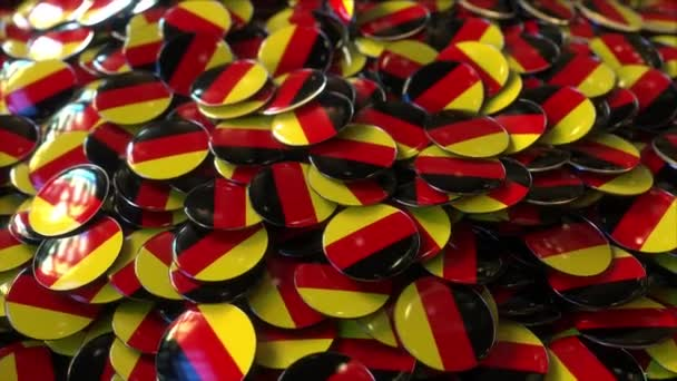 Pile of badges featuring flags of Germany