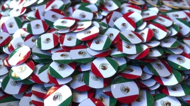 Pile of badges featuring flags of Mexico
