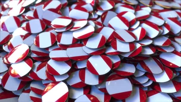 Pile of badges featuring flags of Peru