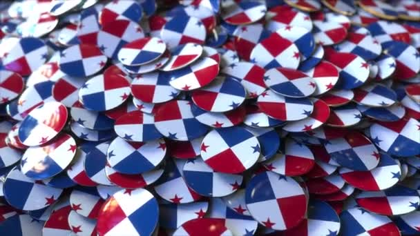 Pile of badges featuring flags of Panama