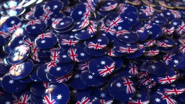 Pile of badges featuring flags of Australia