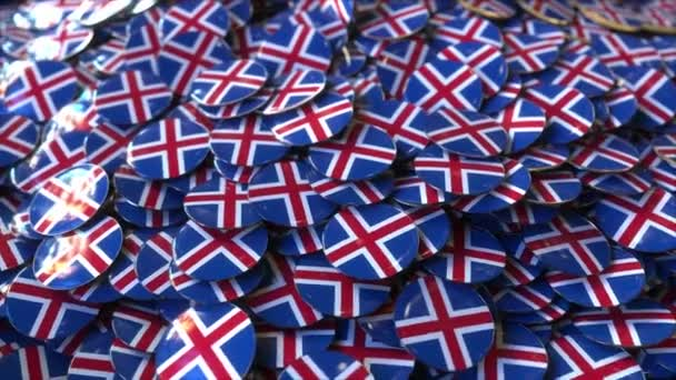 Pile of badges featuring flags of Iceland