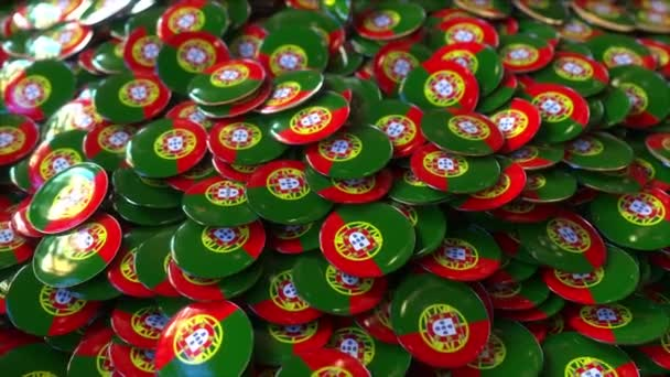 Pile of badges featuring flags of Portugal