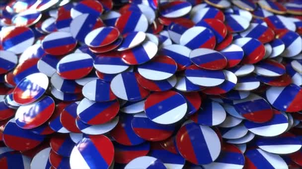 Pile of badges featuring flags of Russia