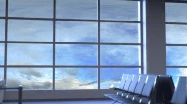 Kereskedelmi repülőgép leszállás a Phoenix nemzetközi repülőtér. Az Egyesült Államok fogalmi bevezető animáció utazik