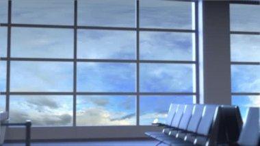 Kereskedelmi repülőgép leszállás a budapesti nemzetközi repülőtéren. Magyarország fogalmi bevezető animáció utazik