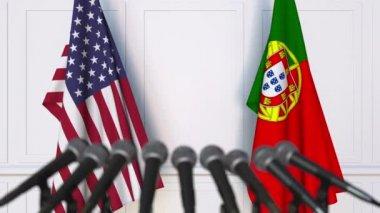 Zászlók, Portugália és az Usa nemzetközi értekezlet vagy tárgyalások sajtótájékoztatón