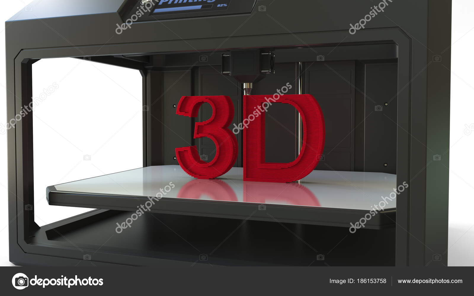 Printing red letters with a 3D printer, 3D rendering — Stock Photo