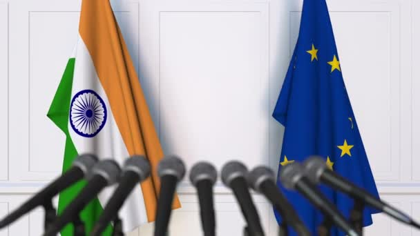 Flags of India and the European Union at international meeting or negotiations press conference