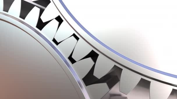 Moving gear wheels. Loopable close-up animation