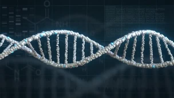 Rotating DNA molecule model against genetics related background. Loopable animation
