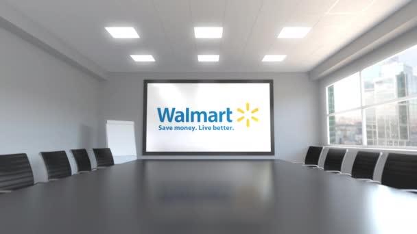 Logo de Walmart en la pantalla en una sala de reuniones. Animación ...