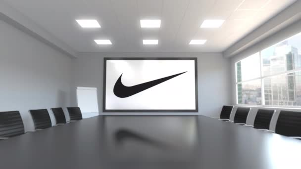 Nike inscription and logo on the screen in a meeting room. Editorial 3D animation