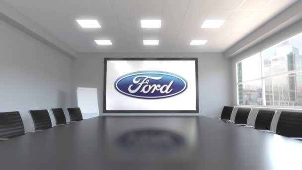 Ford Motor Company logo na obrazovce v zasedací místnosti. Redakční 3d animace