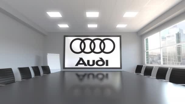 Audi logo na obrazovce v zasedací místnosti. Redakční 3d animace