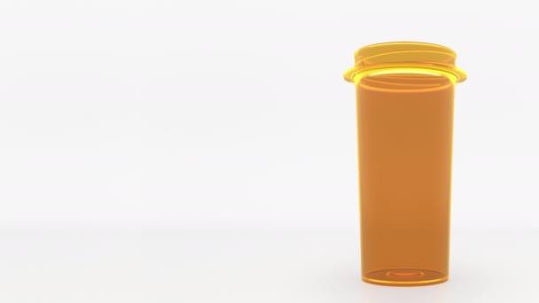 IBUPROFEN generic drug pills in a prescription bottle. Conceptual 3D animation