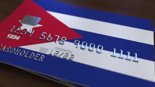 Carte Credit Cuba.Carte De Banque En Plastique Avec Le Drapeau De Cuba Cuban Bancaire Animation Conceptuelle De Systeme