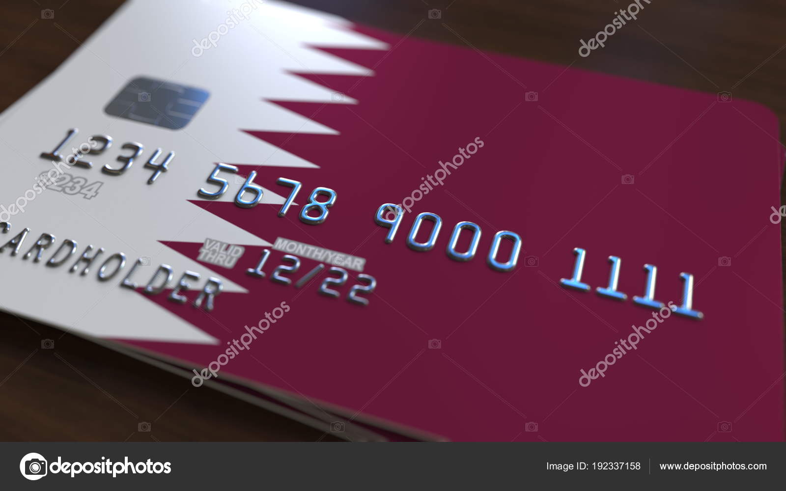 Carto de banco de plstico com a bandeira do qatar sistema carto de banco de plstico com a bandeira do qatar sistema bancrio do qatar conceitual reheart Image collections