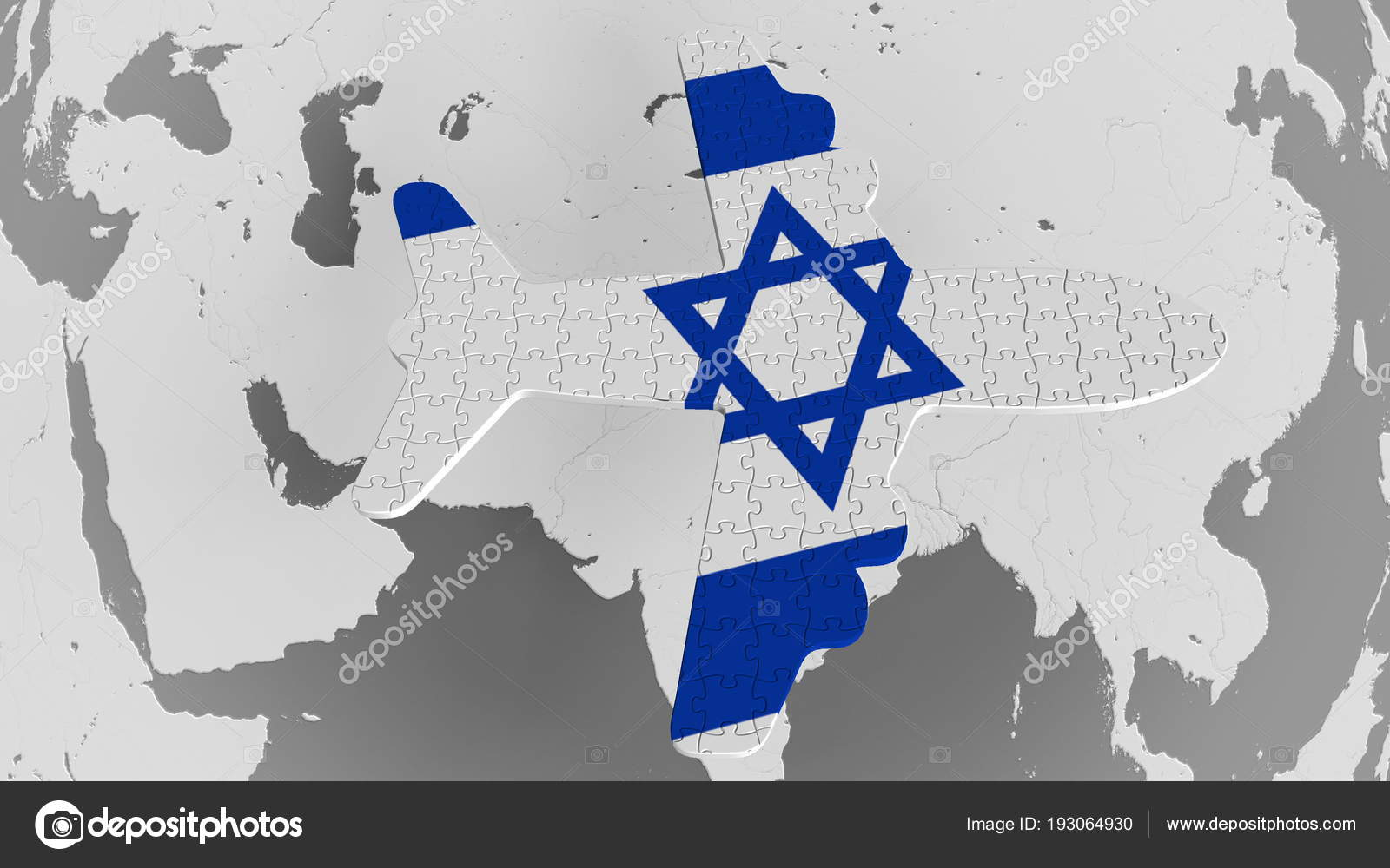 Airplane puzzle featuring flag of Israel against the world map ...