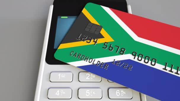 Carte Bancaire Afrique Du Sud.Paiement Ou Tpv Avec Carte De Credit Avec Le Drapeau De L Afrique Du Sud Commerce De Detail De Sar Ou Bancaire Animation Conceptuelle De Systeme