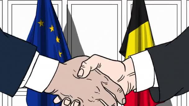 Businessmen or politicians shake hands against flags of European Union EU and Belgium. Official meeting or cooperation related cartoon animation