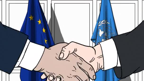 Businessmen or politicians shake hands against flags of European Union EU and United Nations. Official meeting or cooperation related editorial animation