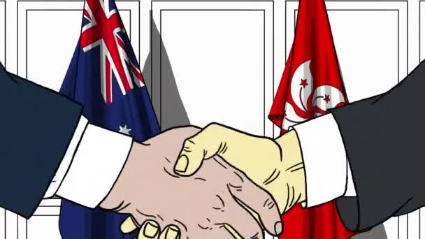 Businessmen or politicians shake hands against flags of Australia and Hong Kong. Official meeting or cooperation related cartoon animation