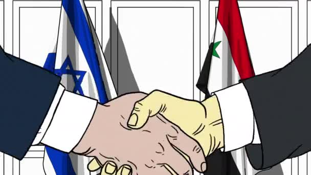 Businessmen or politicians shake hands against flags of Israel and Syria. Official meeting or cooperation related cartoon animation