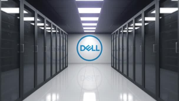 Dell Inc. logo on the wall of the server room. Editorial 3D animation