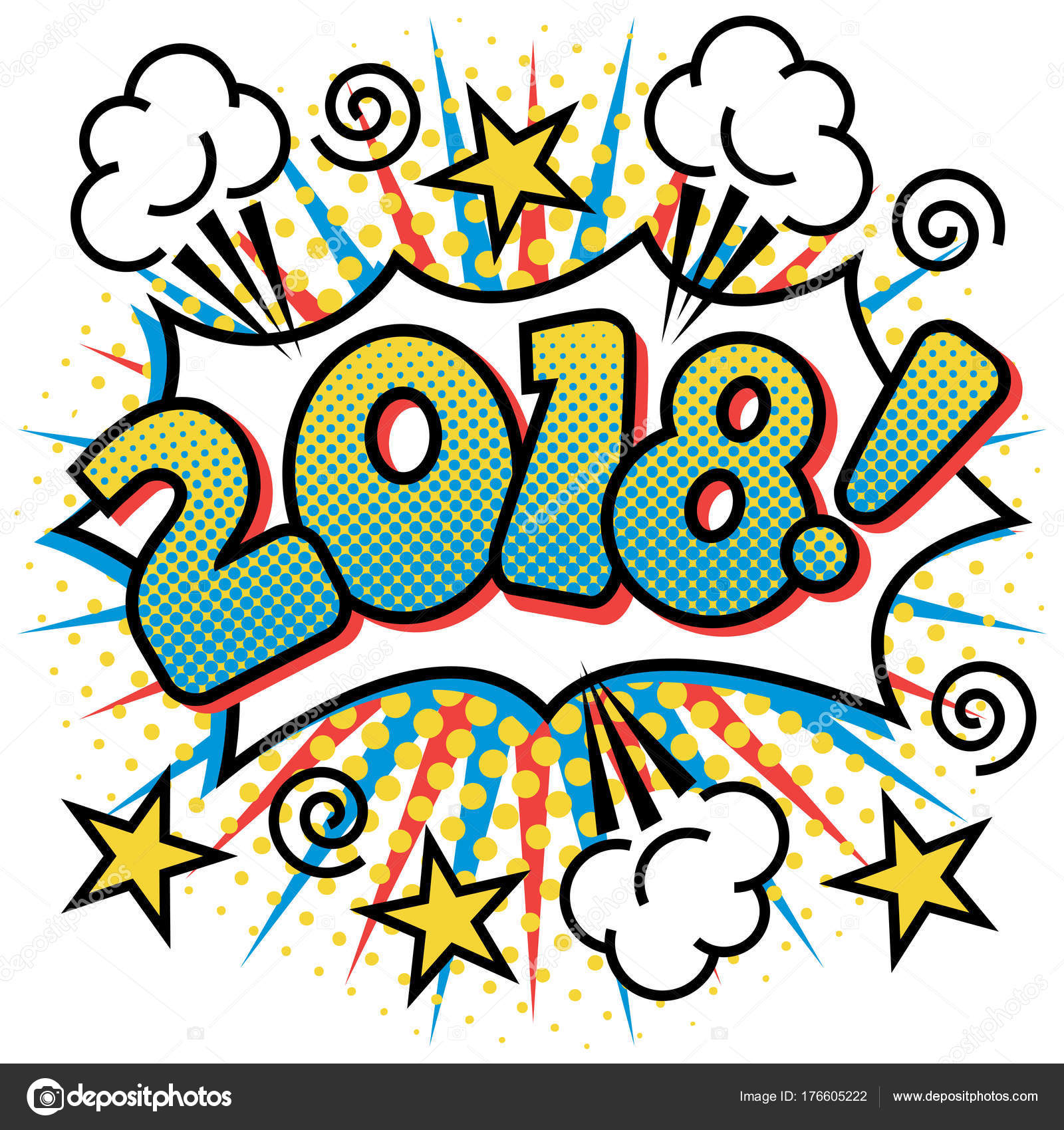 2018 text design happy new year pop art styled cartoon stock vector