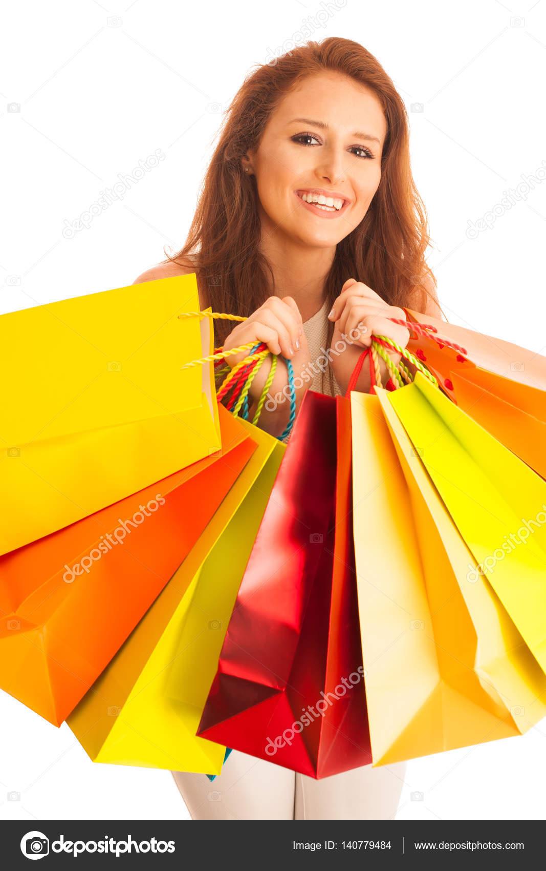 626f7867e6985 Mulher Com Sacos Compras Depois Uma Compra Bem Sucedida Venda — Fotografia  de Stock
