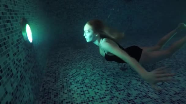 Dark Night Beauty Young Woman Swim Water Swimming Pool Lights