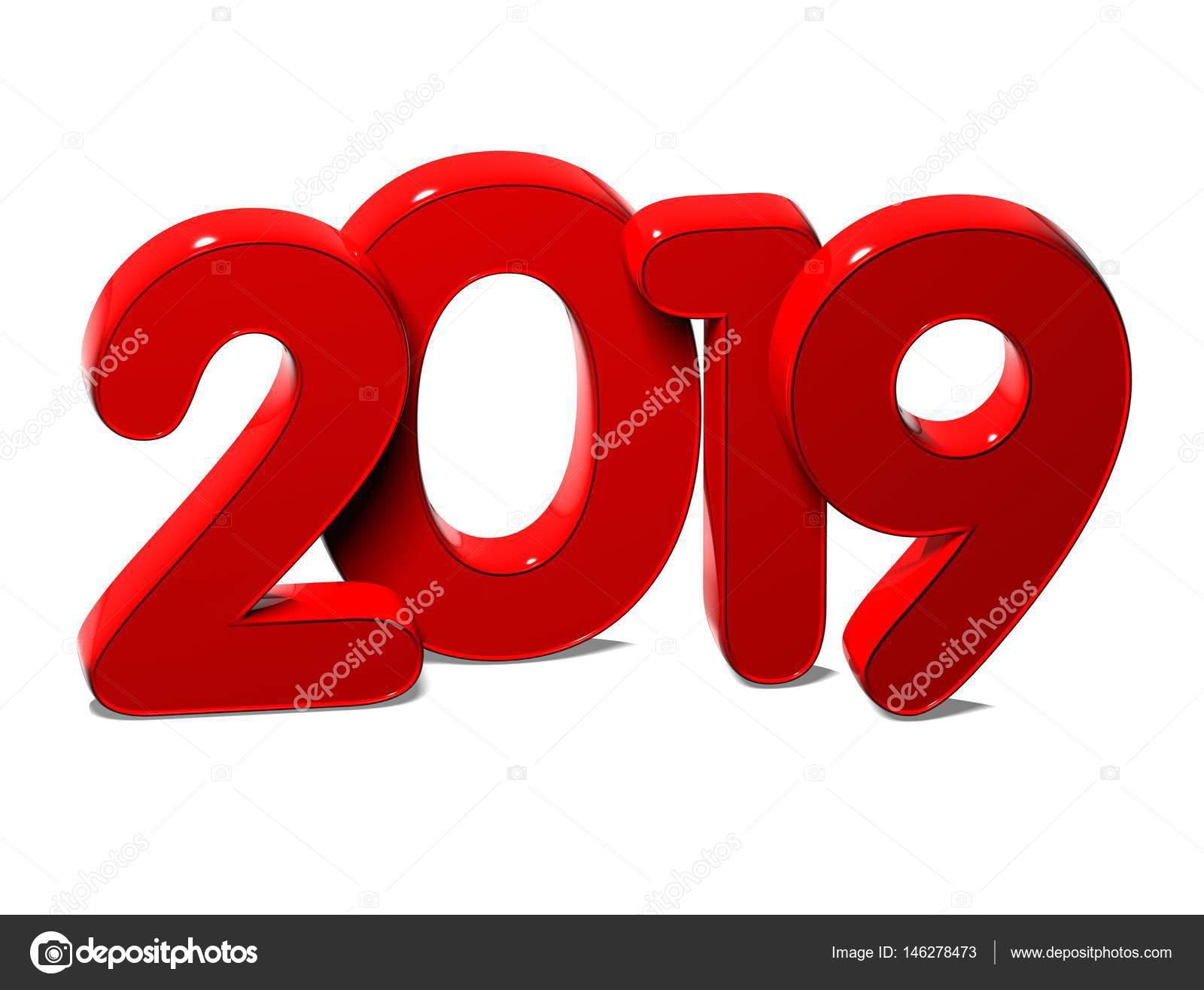 3d czerwony nowy rok 2019 na bia�ym tle � zdjęcie stockowe