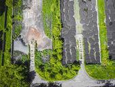 Fotografie Kläranlage. statische Luftaufnahme mit Blick auf das Klärwerk