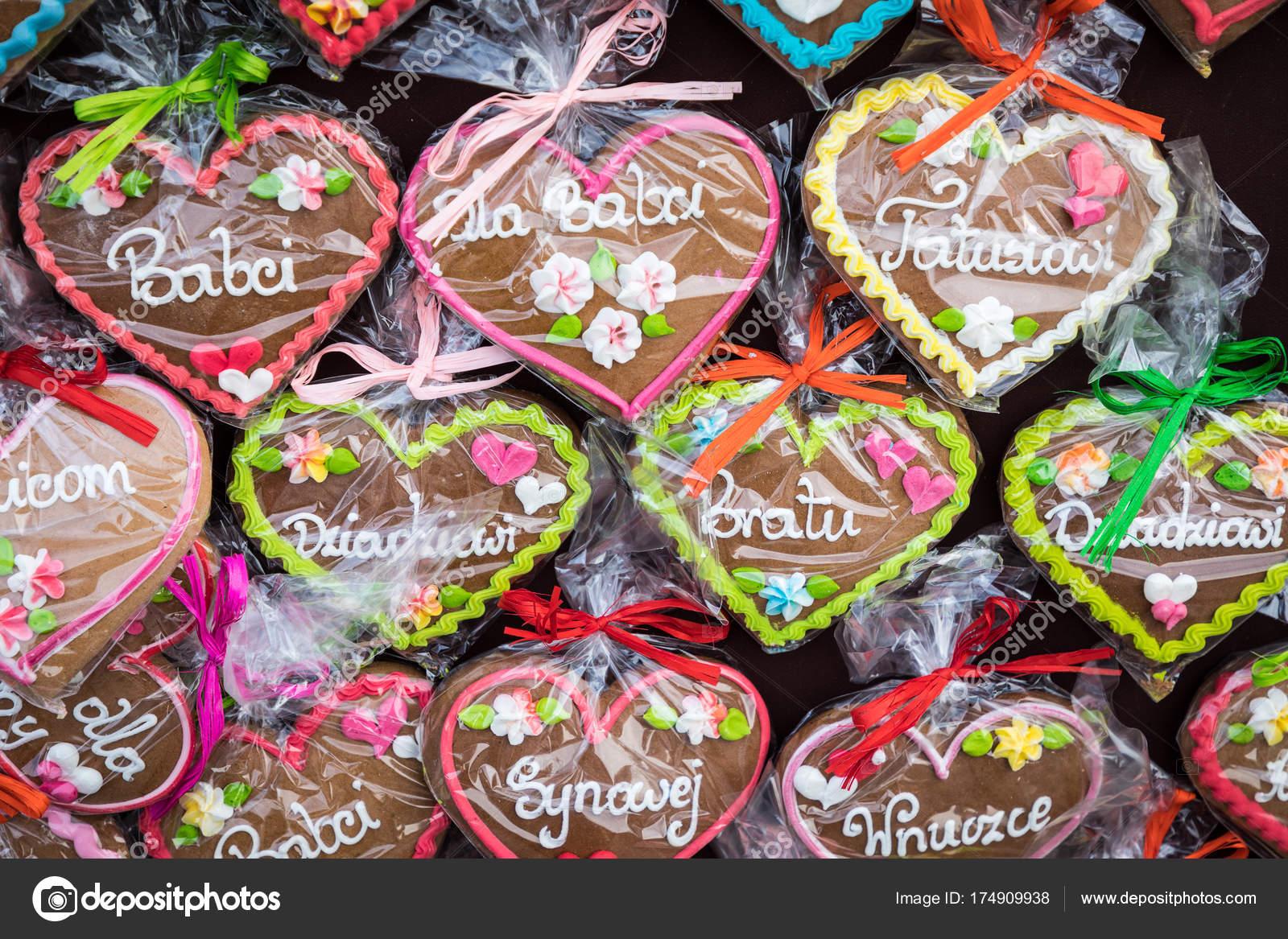 Polish Christmas Cookies.Gingerbread Hearts At Polish Christmas Market Cracow Xmas