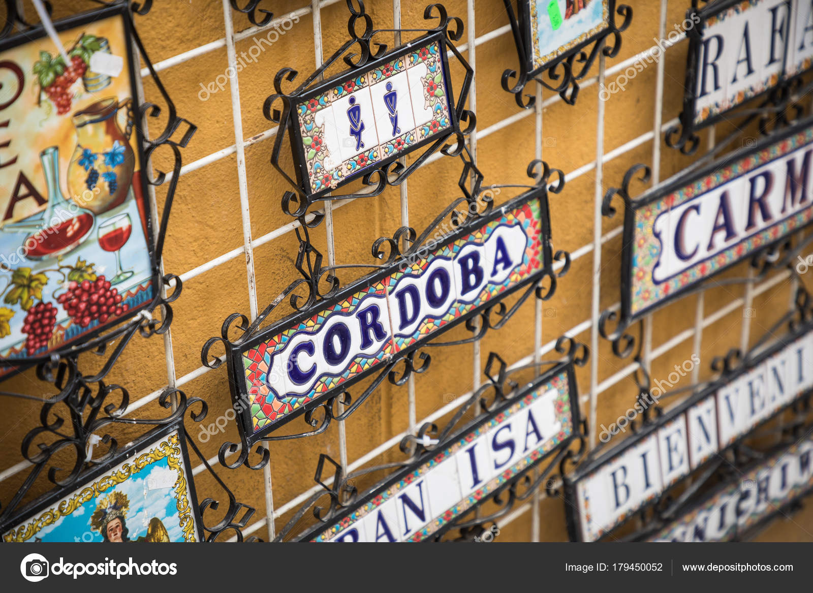 Ceramics signs at local souvenir shop in Cordoba, Andalusia, Spa