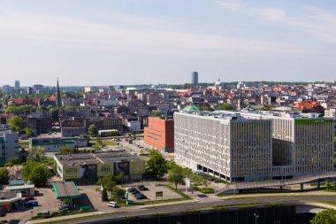 KATOWICE, POLAND - MAY 05, 2018: Panoramic view in modern distri