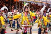 Oruro, Bolívie - 10 února 2018: Tanečníci v Oruro Carnival v