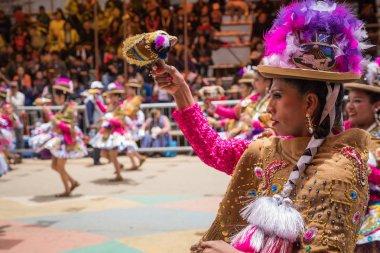ORURO, BOLIVIA - FEBRUARY 10, 2018: Dancers at Oruro Carnival in