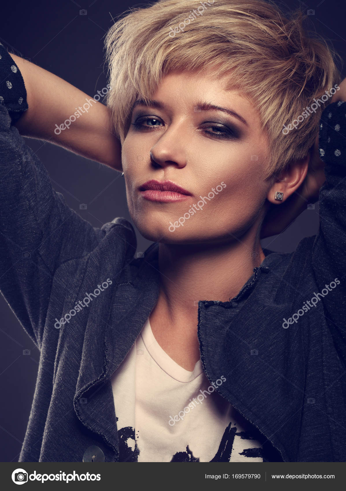 Beautiful Sexy Cocky Woman With Short Bob Blond Hairstyle