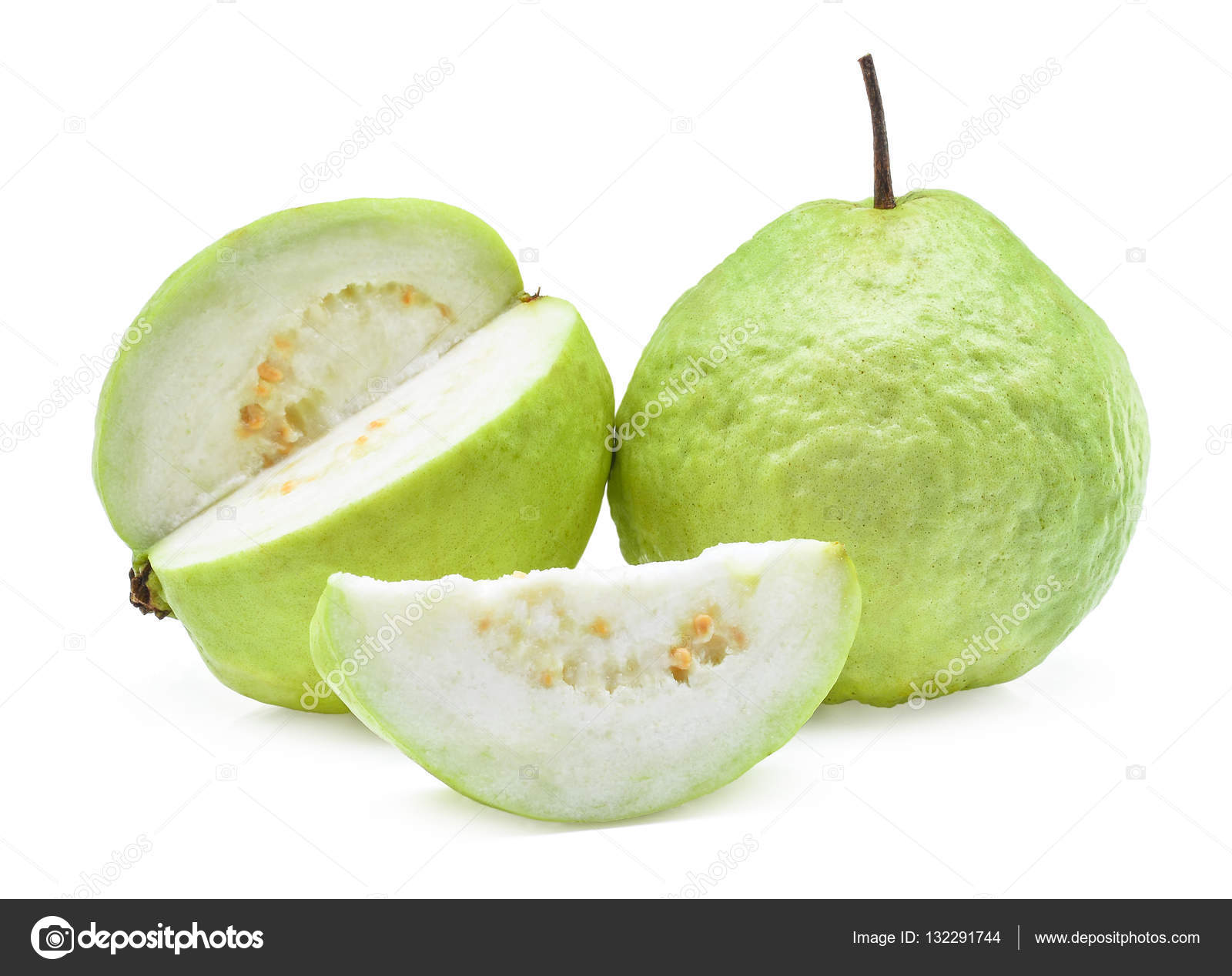 Fresh guava fruit with slice isolated on white background