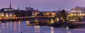 Panorama z Nantes při východu slunce
