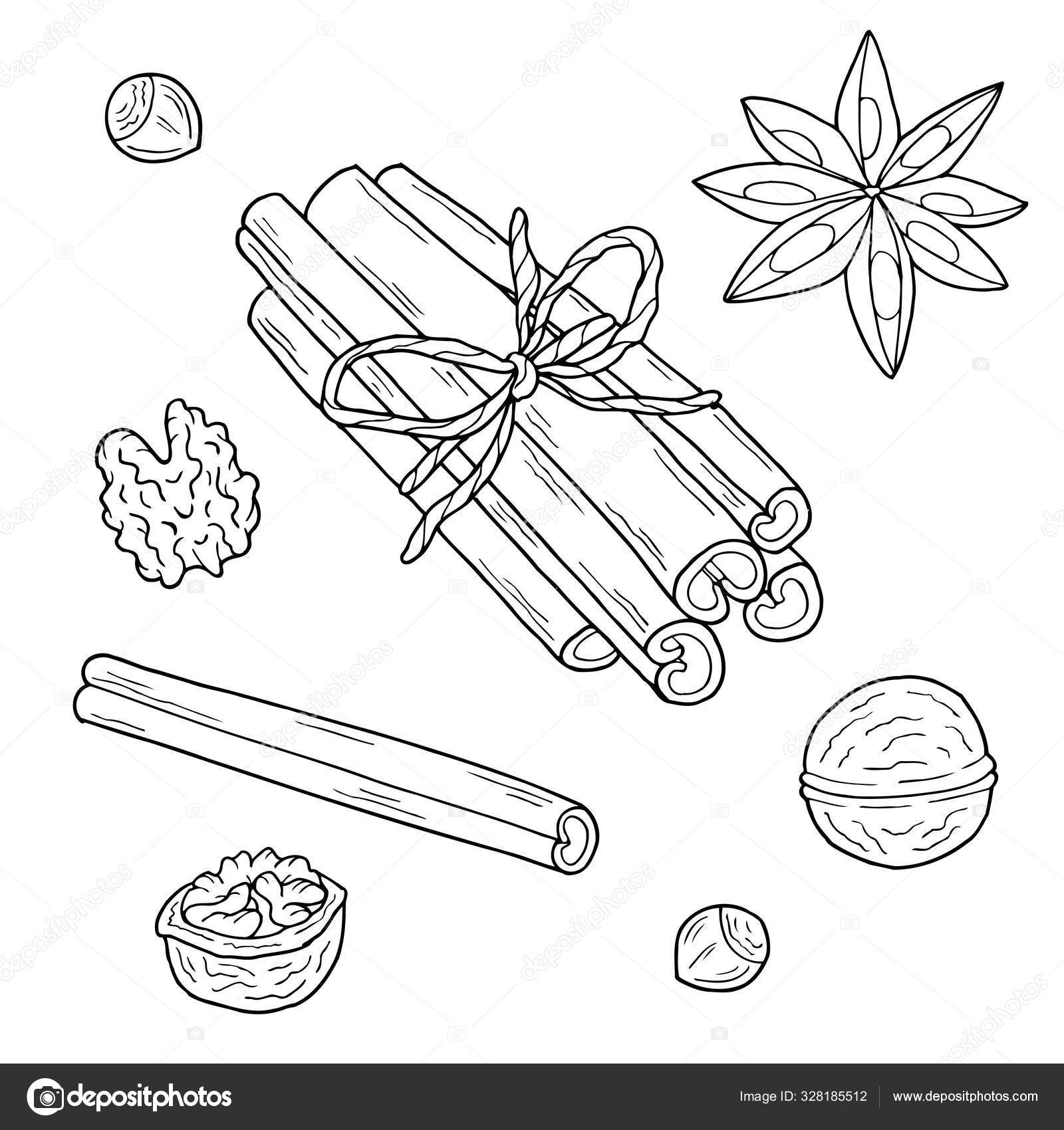 Christmas food and spices. Hand drawn vector illustration ...