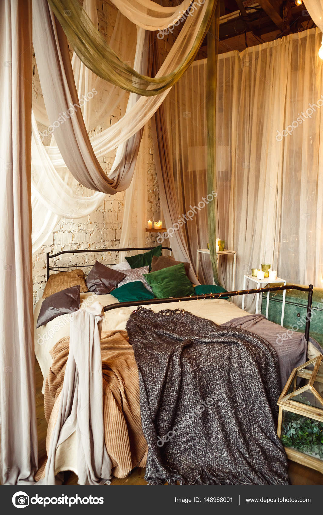 Stylish Bedroom In Boho Style With Grey, White And Green Colors And Many  Candles. Bed With Dark Grey Blanket. U2014 Photo By Kotelnyk