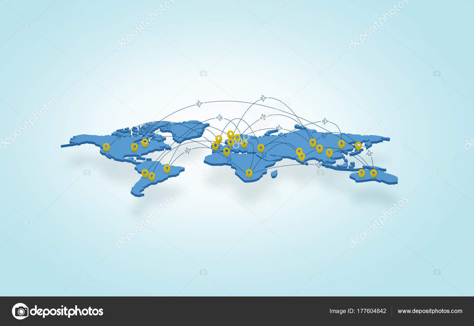 Illustration soil slice blue world map plane route city pins stock 3d illustration of a soil slice blue world map with plane route and city pins on light background photo by russian photo gumiabroncs Gallery