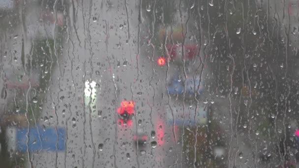 Raindrops on glass. Rain outside the window.