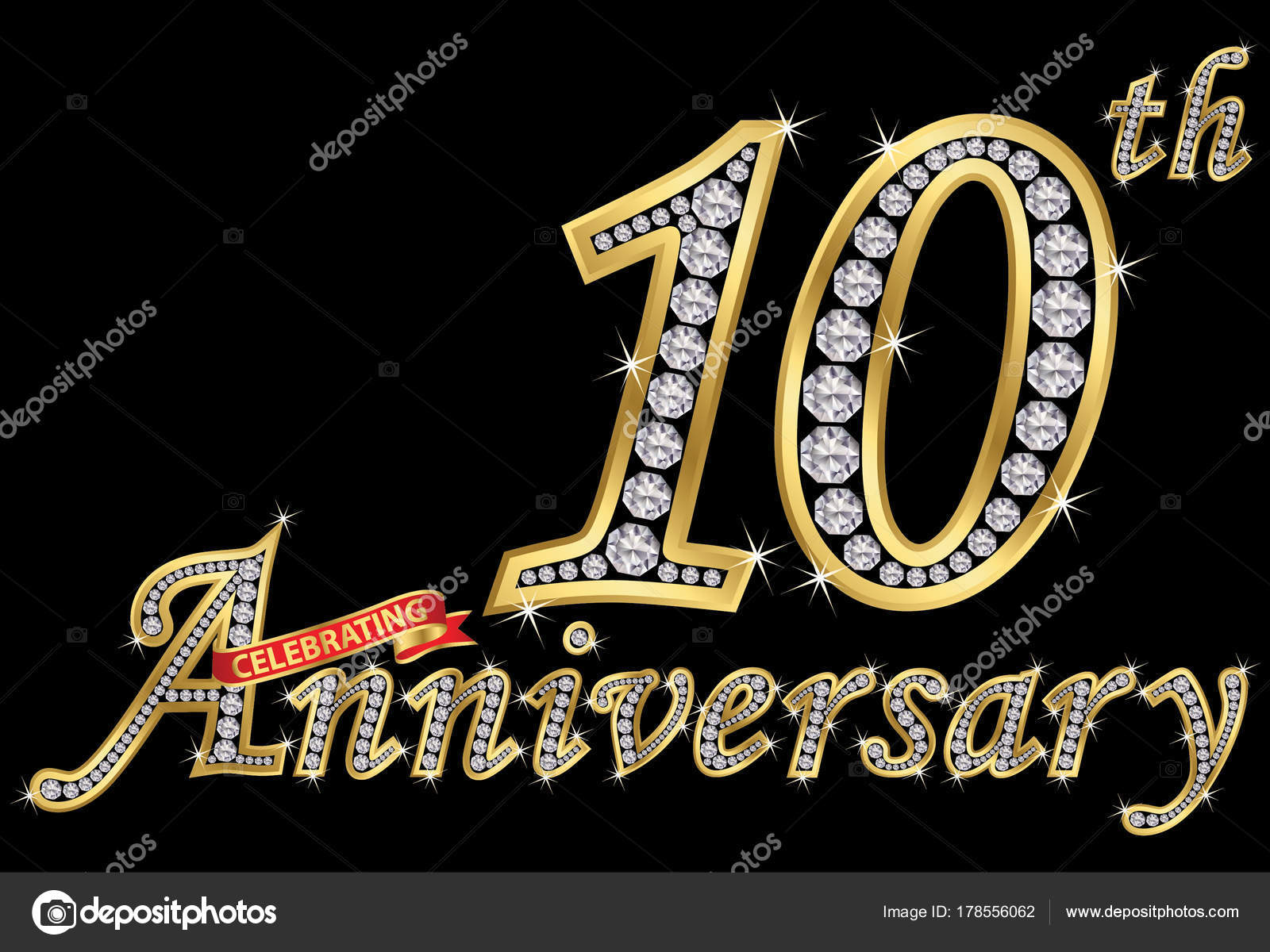 Celebrating th anniversary golden sign with diamonds vector