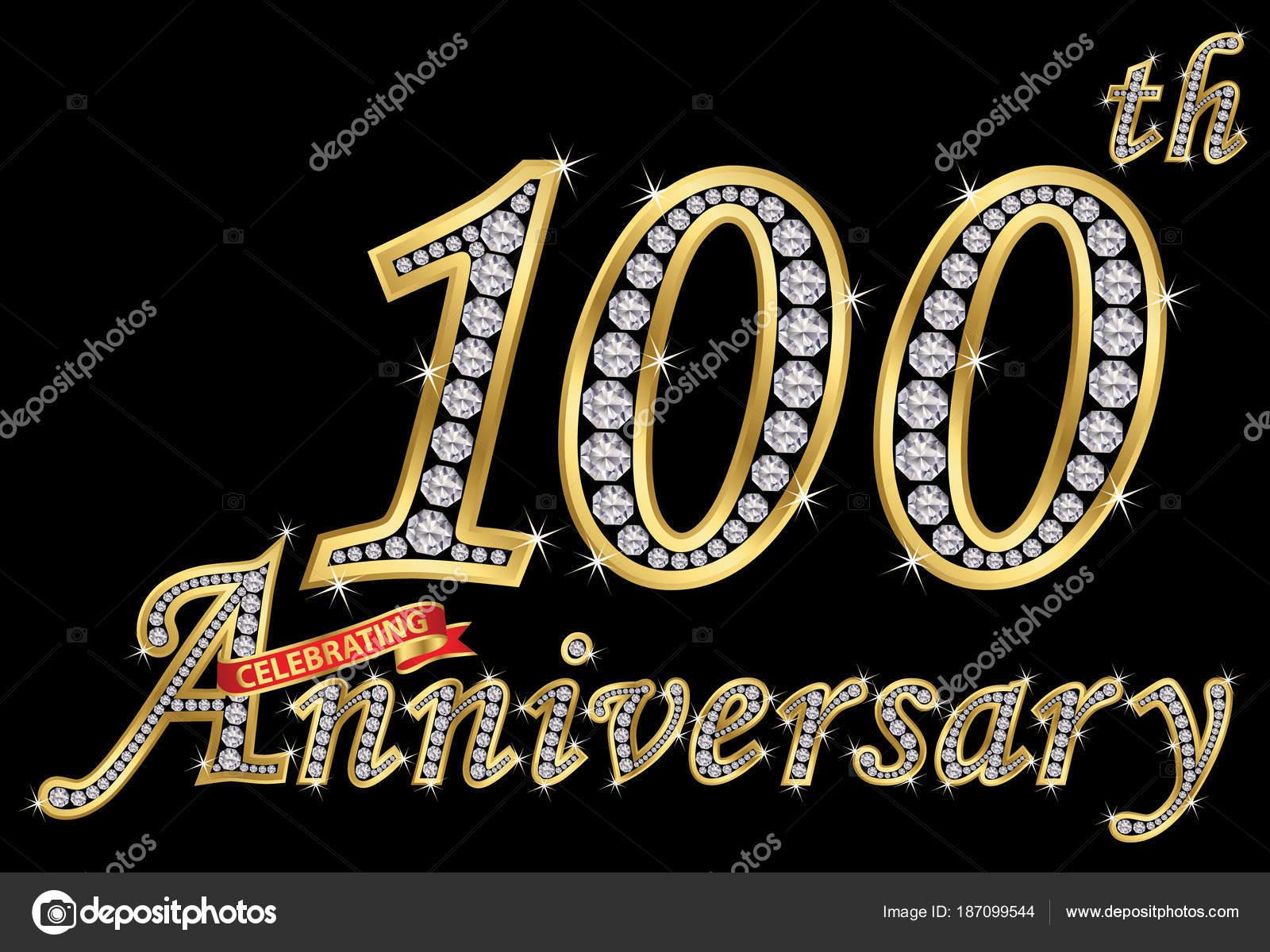 Viering Van 100ste Verjaardag Gouden Bordje Met Diamanten Vector