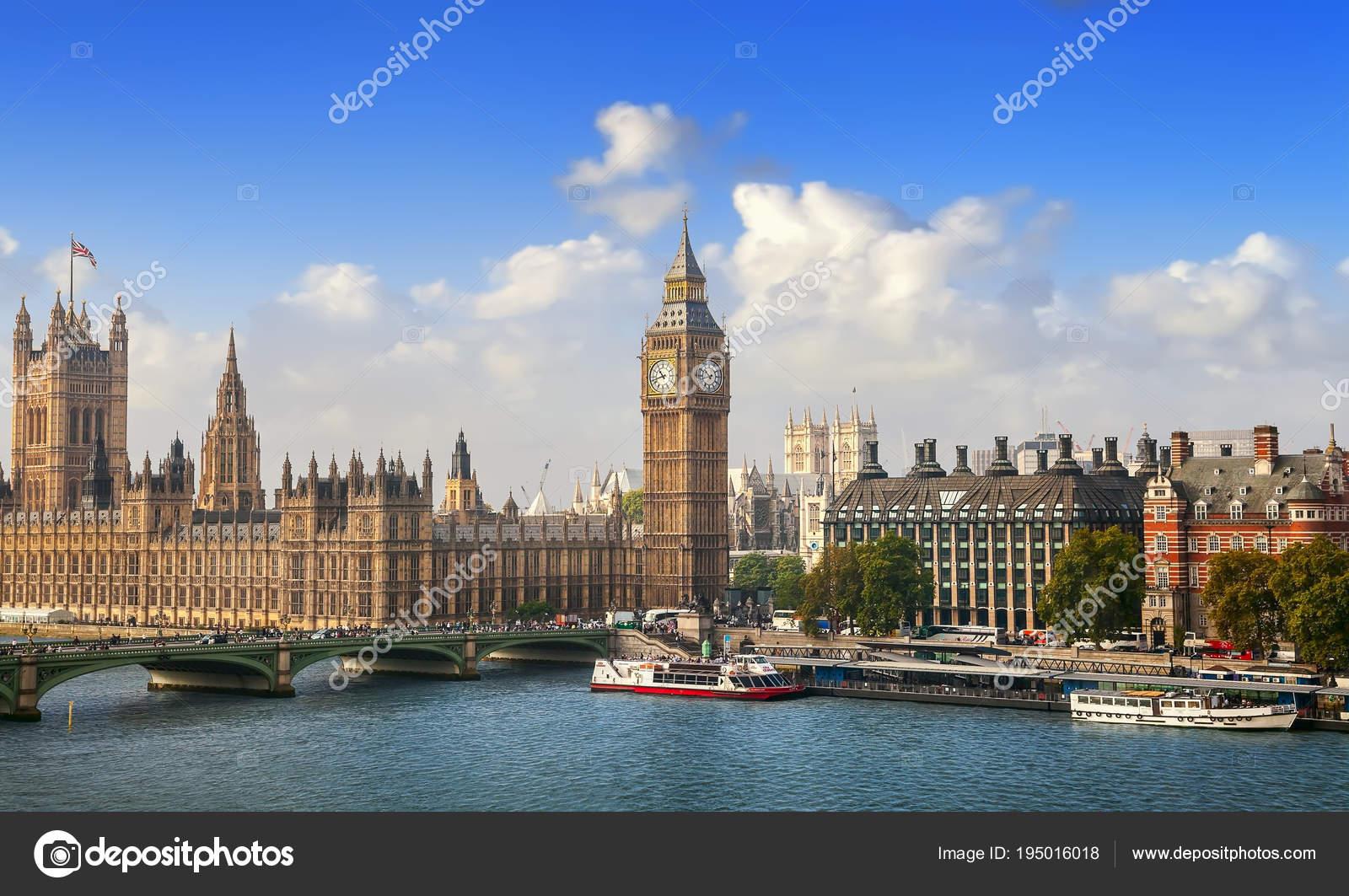 London September 2014 Big Ben House Parliament Westminster Bridge
