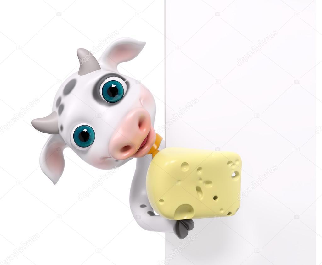 Vaca De Personaje De Dibujos Animados Con Queso, Aislado